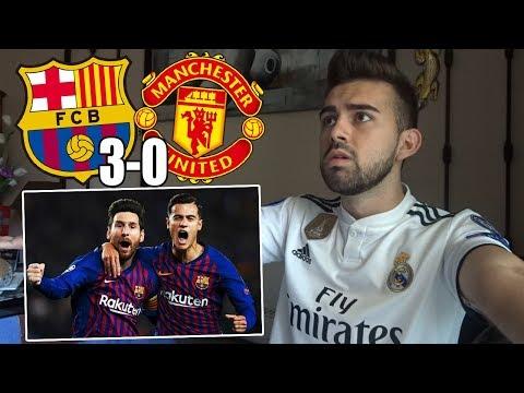 HINCHA del REAL MADRID reacciona al FC BARCELONA 3-0 MANCHESTER UNITED Cuartos UEFA Champions league