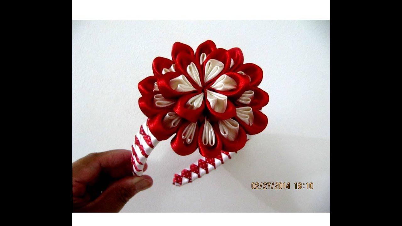 Flores bom bom diademas mo itos dos colores en cintas para for Diademas de tela para el cabello