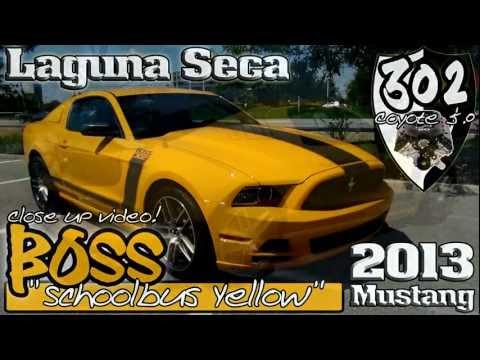 2013 School Bus Yellow BOSS 302 Mustang Gt Laguna Seca close-up video