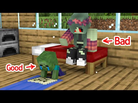 Monster School : Good Baby Zombie and Bad Zombie Girl - Sad Story - Minecraft Animation
