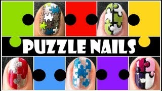 5 Ways To Create Puzzle Nails | Easy How To Taped Konad Stamping Nail Art Design Tutorial Short