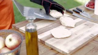 Easy Flat Bread Recipe served with Baked Mushrooms & Camembert from the Fornetto Ovens