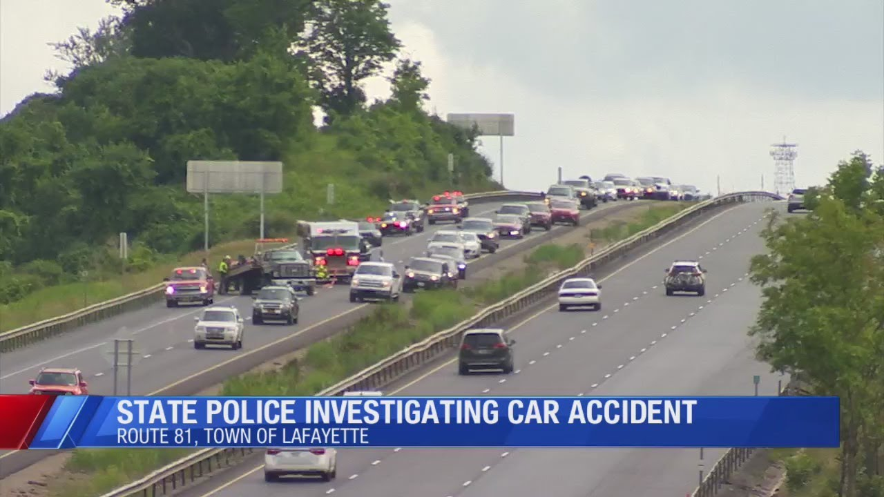 Car crash in Town of LaFayette backs up traffic on I-81N