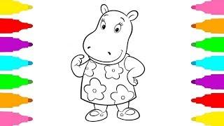 How to Draw Hippopotamus Tasha from The Backyardigans | Cómo dibujar Tasha de Los Backyardigans