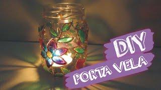 DIY porta vela com verniz vitral | reciclagem de vidro | decoração | luminária floral | Lilian Luz