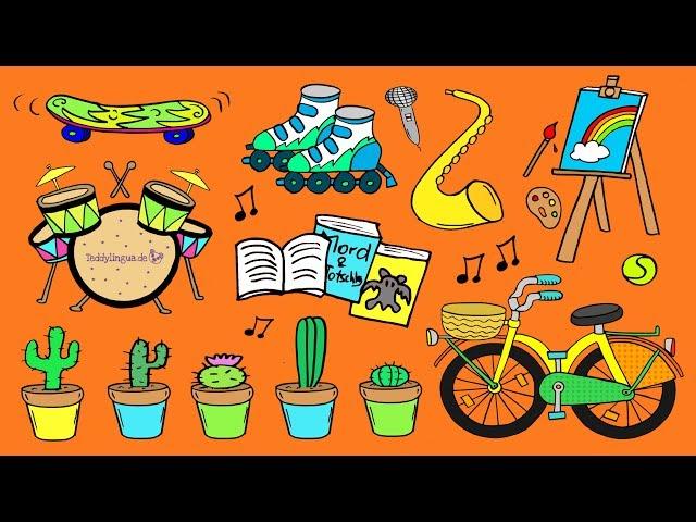 Hobbys - kleine Dialoge - Illustrationen veranschaulichen für Lerner aller Ausgangssprachen