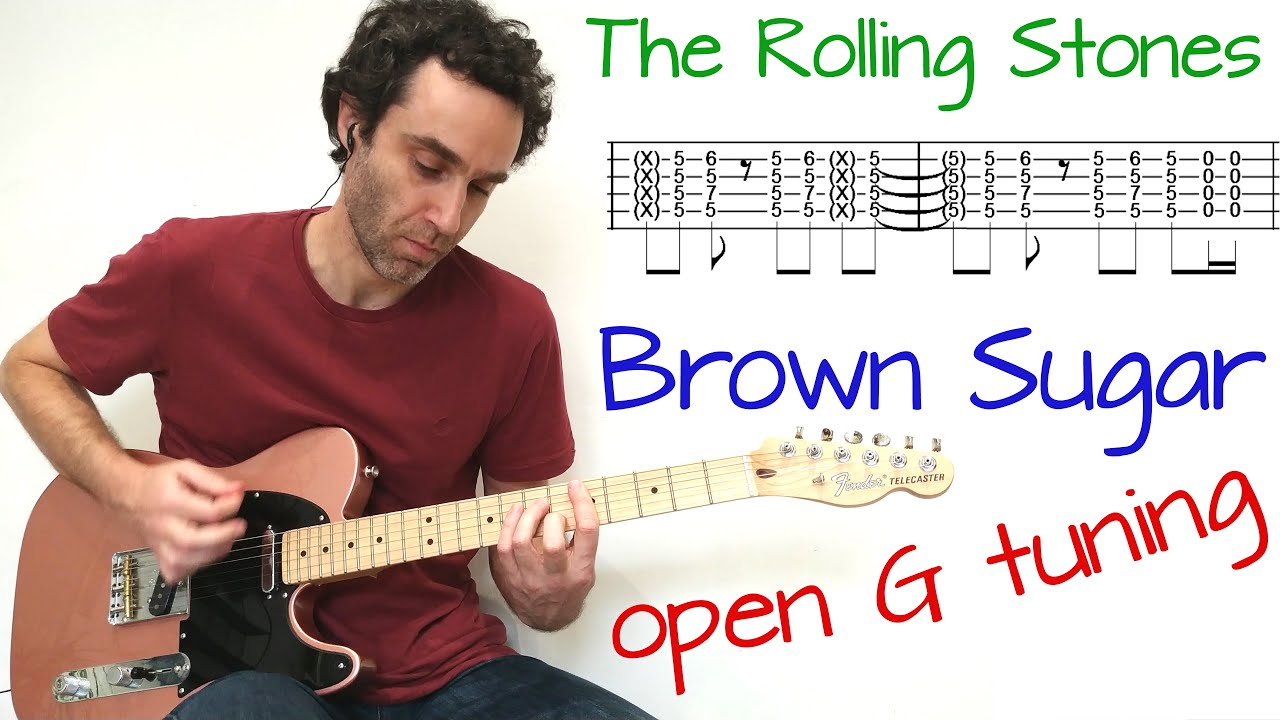 Rolling Stones   Brown Sugar in open G tuning   Guitar lesson / tutorial  / cover with tab
