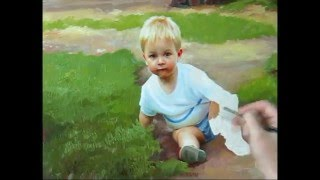 Speed painting little boy in a village