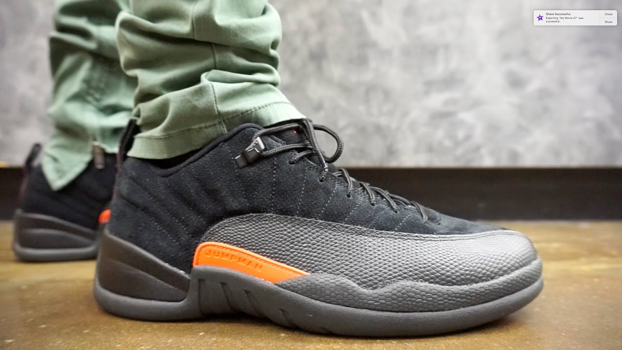 3e42df2952b3 JORDAN 12 LOW MAX ORANGE EARLY ON FOOT ! UP CLOSE   REVIEW - YouTube