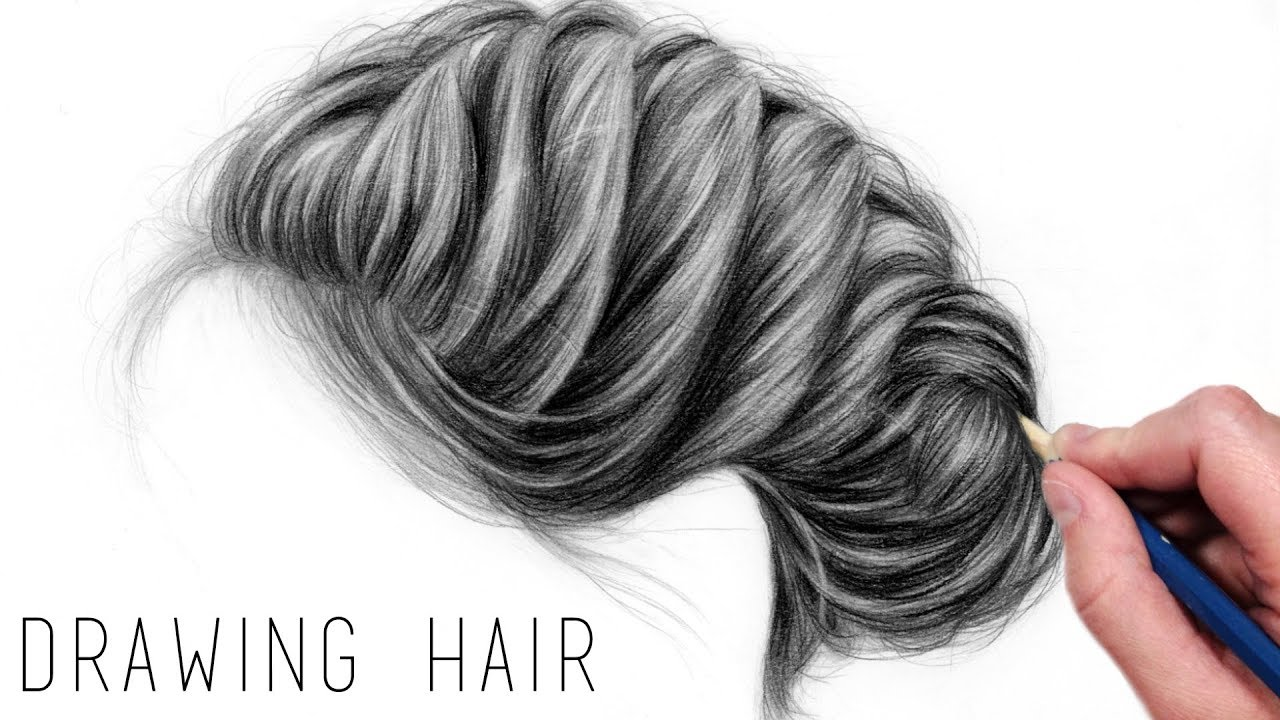 How to draw realistic hair with graphite pencils drawing tutorial step by step