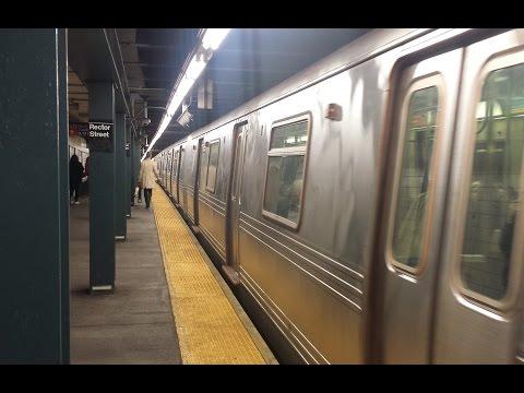 BMT Broadway Line: Downtown & Queens Bound R46 & R160 (R) (W) Trains @ Rector Street