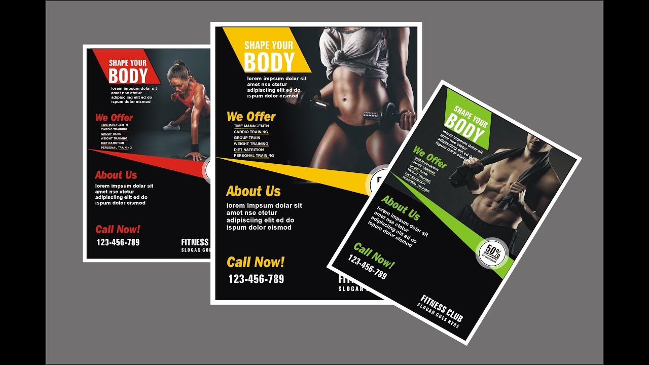 how to make gym flyer design using coreldraw youtube