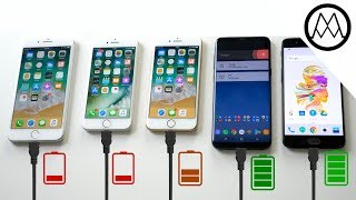 iPhone 8 vs Galaxy S8 vs Oneplus 5 - Battery Charging Speed Test