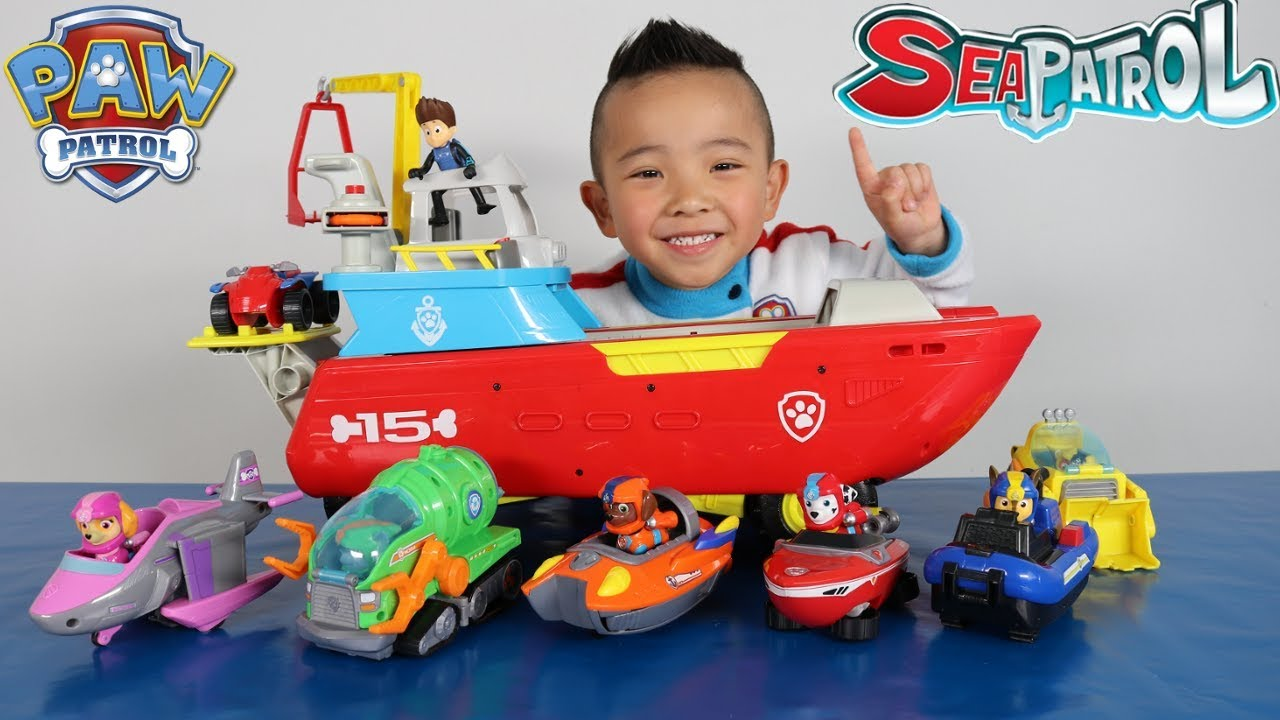 Paw Patrol Sea Patroller Vehicles And Characters Complete Set Toys Unboxing With Ckn #1