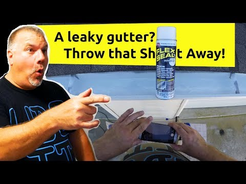 Using Flex Seal to Repair a Leaky Gutter / Fixing a Gutter Leak with Flex Seal Spray