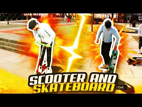 NBA 2K20 BUYING SCOOTER AND SKATEBOARD ON NBA 2K20 MYPARK 2K20 MYPARK REP REWARDS RIDE ON THE COURTS