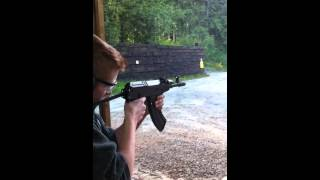 14 year old boy shooting a czech vz 58 sporter at the gun range 7 62x39mm