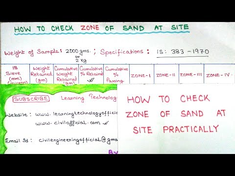 How To Check Zone Of Sand At Site | Fineness Modulus Of Sand Limit | Learning Technology