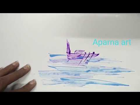 How to Paint Landscape With Blade | New Painting Technique | Blade art By Aparna
