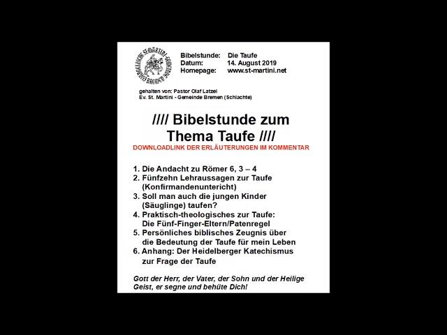 Bibelstunde Vom 14082019 Die Taufe Youtube