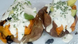 Fully Loaded Baked Sweet Potato Recipe VEGAN And Delicious