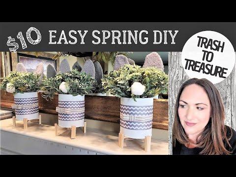 $10 SPRING DIYS * NEW * Trash To Treasure DOLLAR TREE, Recyclables, Etc. - BUNNY TIN CANS 2020
