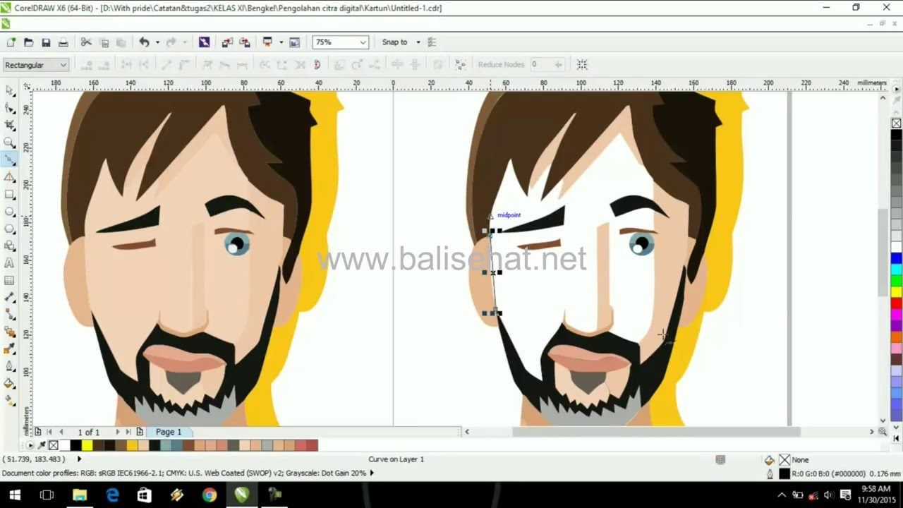 How To Make Cartoon Beard Man In Coreldraw X6 Vector Art Part 4