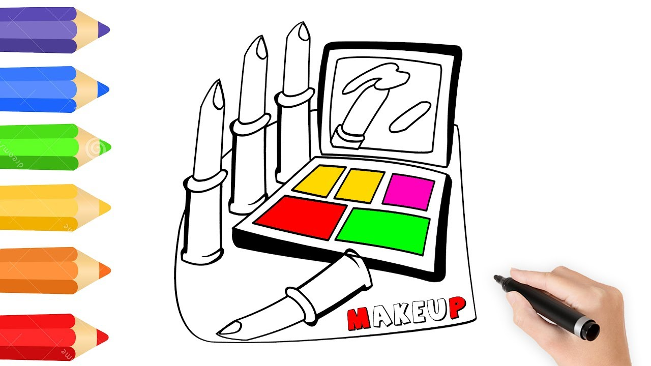 Makeup Table Coloring Page w How to Draw Lipstick For Kids  Kids ...