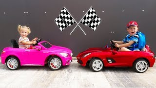 Thomas and Elis Outdoor Activity with Power Wheel Mercedes Ride On electric Toys Cars Pink