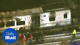 Aerial footage shows aftermath of New York train crash - Daily Mail