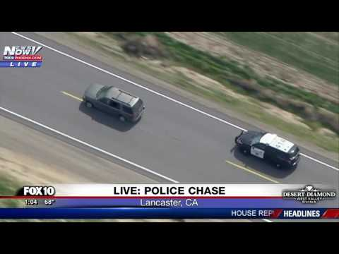 POLICE CHASE: Suspect Flees SUV and Tries to Run From CHP Officers in Lancaster, CA