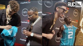 DaBaby Gets Emotional After LaMelo Ball Signs Jersey For Him At ESPY Awards