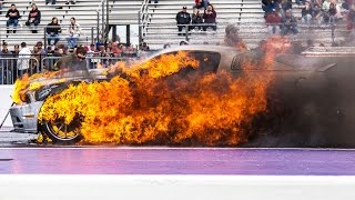 شاهد: النيران تلتهم فورد موستانج خلال سباق سحب
