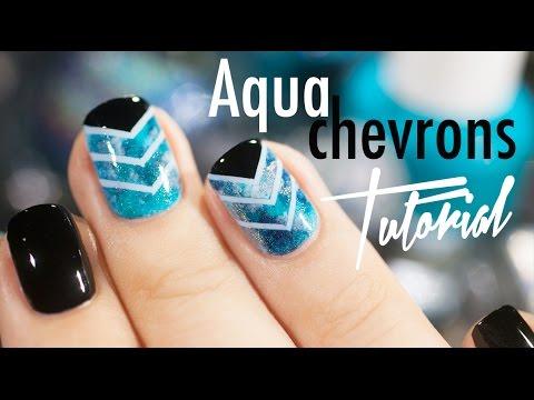 Nail Art Tutorial Aqua Chevron Youtube