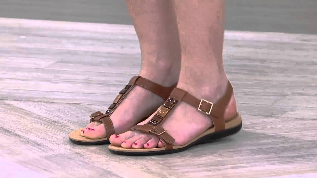 34b94b93e565 Vionic Orthotic Embellished T-strap Sandals - Lennox on QVC - YouTube