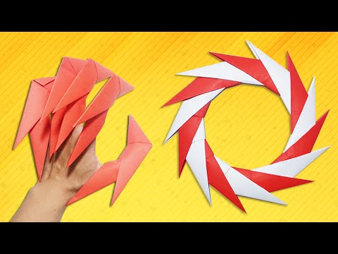 Origami Easy Dragon Claws Paper Ninja Star 14 Points