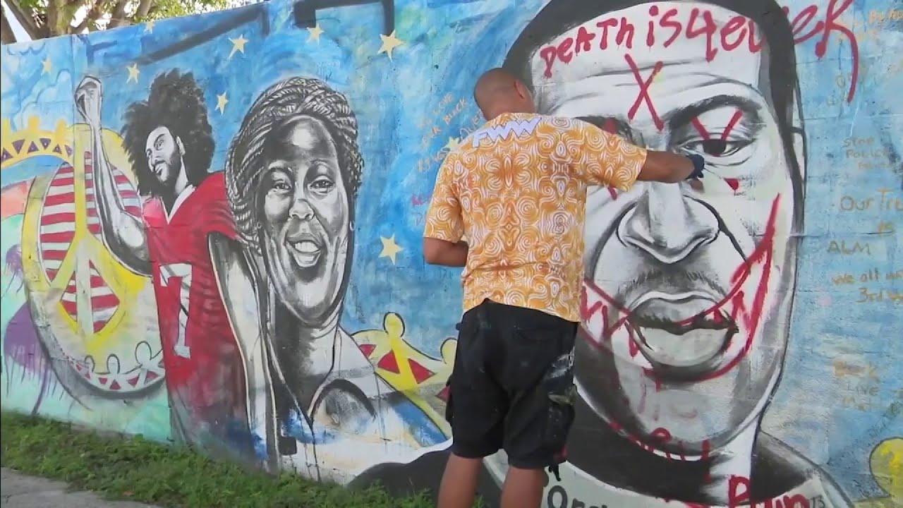 Artist repaints Miami George Floyd mural that was vandalized