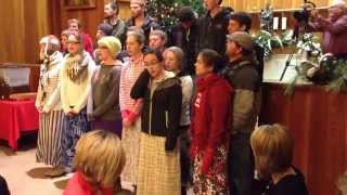 Caroling in Dalhart on Friday, December 12, 2014.  Mennonite youth carolers.
