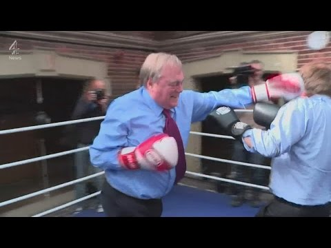 John Prescott boxing with Michael Crick on the election trail