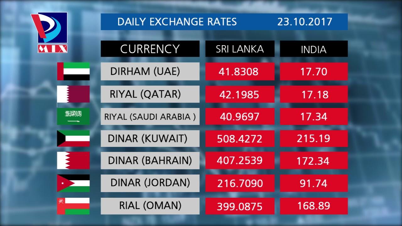 Currency Rates Of Sri Lanka India 23 10 2017