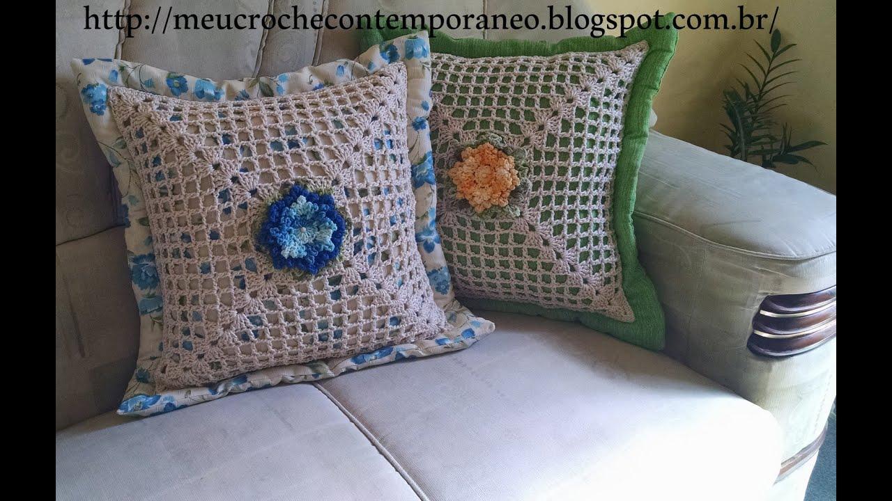 Almofada com Square em Croch e Flor Maria Helena  YouTube