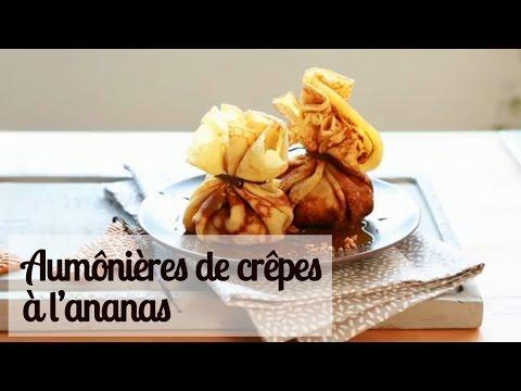 aumônières-de-crêpes-à-l'ananas---recette-facile