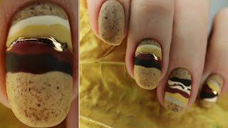 ВТИРКА Осенний Маникюр 2020 Текстура камня на ногтях дизайн ногтей втиркой