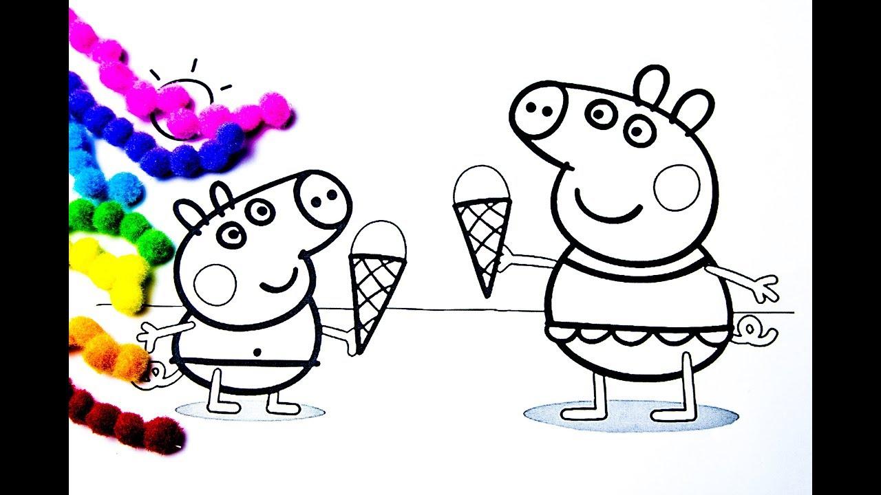 Свинка Пеппа Мультик - Раскраска | Пеппа и Джордж едят ...