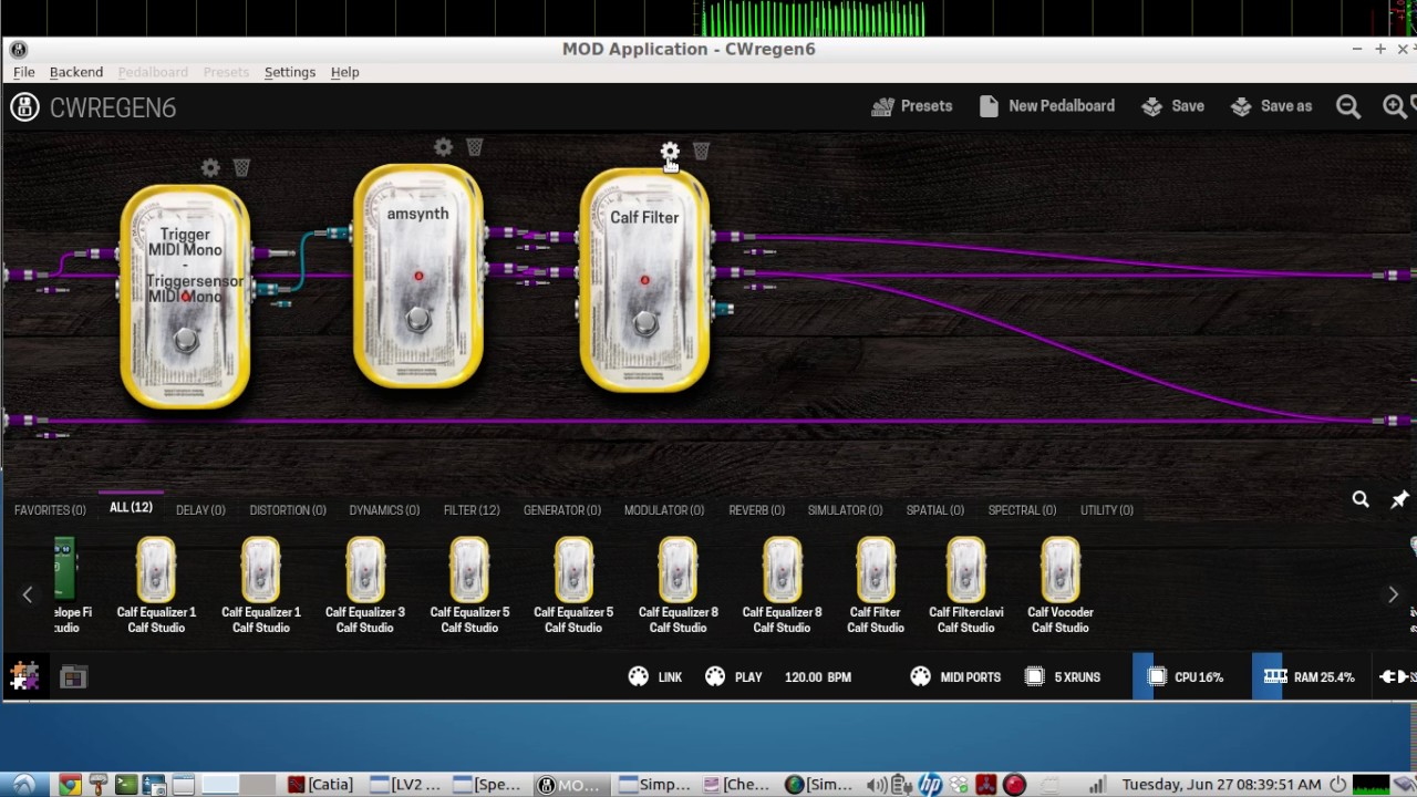 Using the LINUX AUDIO application - MOD-APP - as a Morse Code