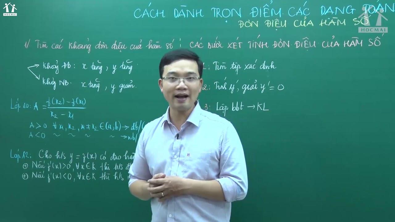 Các dạng toán về tính đơn điệu của hs – Thầy Lưu Huy Thưởng – Toán 12 – GPPEN 2020