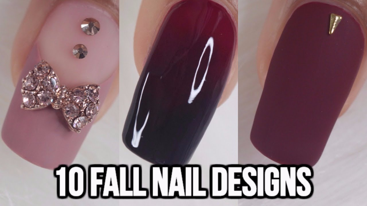 10 Easy Fall Nail Ideas Beginners Nail Art Compilation Youtube