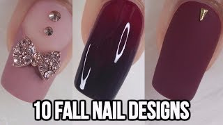 10 EASY FALL NAIL IDEAS-BEGINNERS | NAIL ART COMPILATION