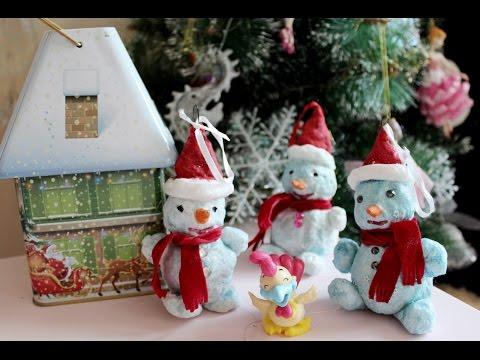 Как сделать снеговика из ваты на елку своими руками поэтапно видео. Мастер класс для новичков.