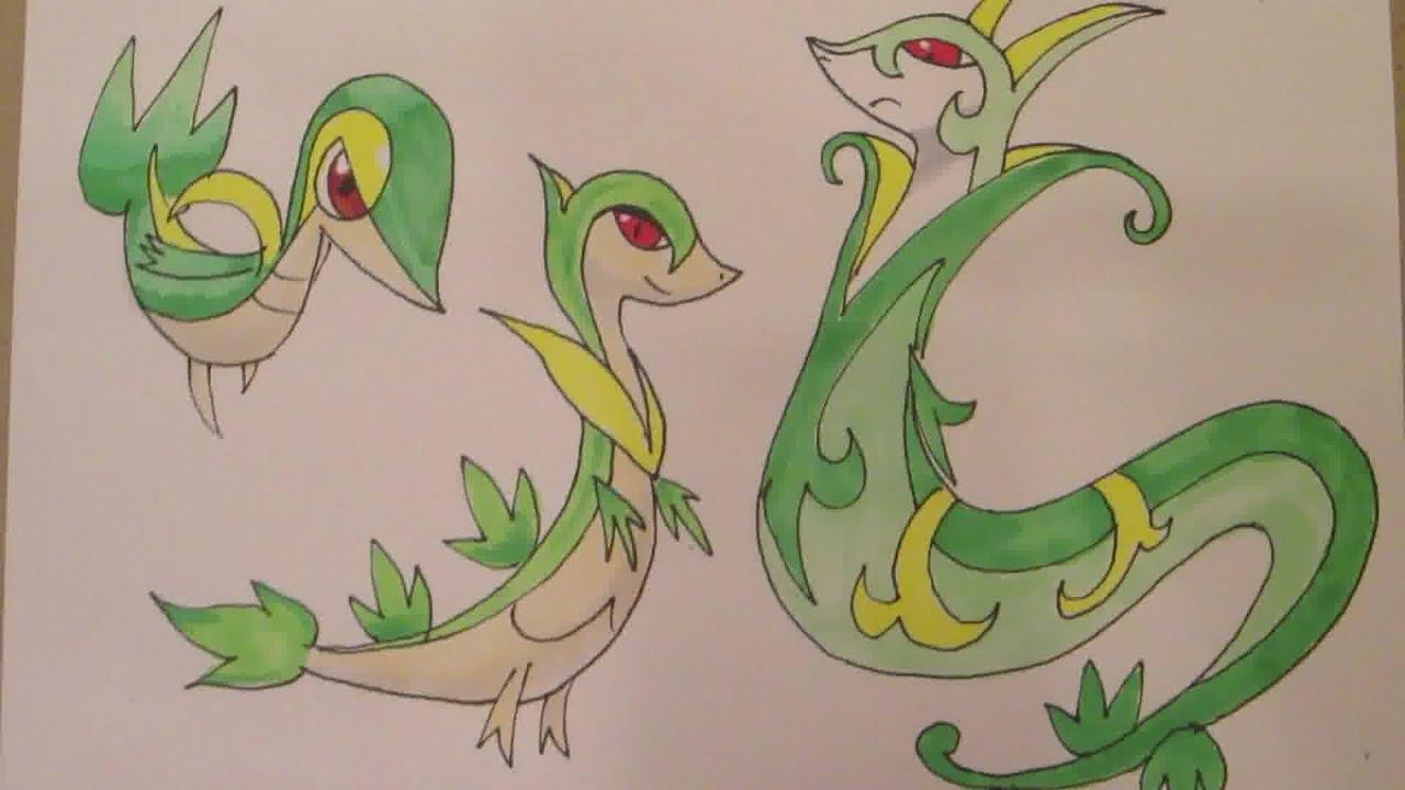 How To Draw Pokemon No 495 Snivy No 496 Servine No 497
